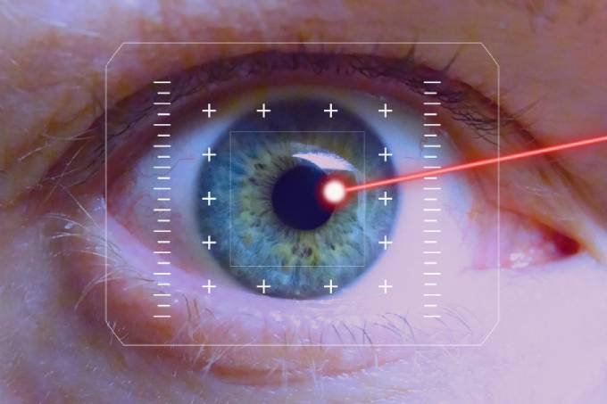 Image of eye with a laser